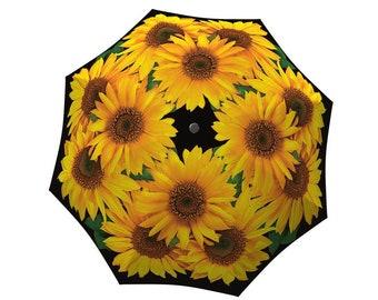 Sunflowers Umbrella - Unique Colourful Large Canopy Fashion Windproof Art Umbrella in Stylish Gift Box - Automatic, Folding Yellow Umbrella