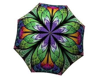 Fashion Umbrella Peacock Design - Unique Colourful Large Canopy Travel Art Umbrella in Stylish Gift Box - Automatic, Folding Purple Umbrella