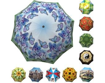Butterfly Designer Umbrella - Unique Lightweight Fashion Vintage Umbrella in Stylish Gift Box - Automatic Folding Blue Green Umbrella