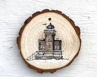 "4"" Hand-Drawn Ornament: Huntington Harbor Light"