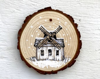 """4"""" Hand-Drawn Ornament: Baiting Hollow Windmill House"""
