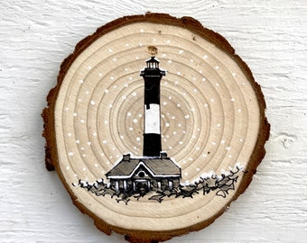 "4"" Hand-Drawn Ornament: Fire Island Lighthouse"