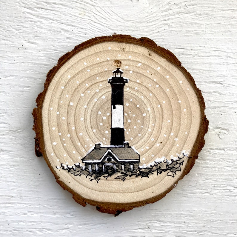4 Hand-Drawn Ornament: Fire Island Lighthouse image 0