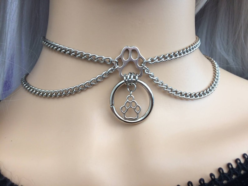 Stainless Steel BDSM Submissive Ownership Collar Pet Little Princess DDlg Slave Collar Paw Charms and 20mm O Ring