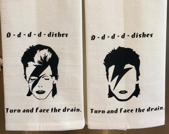 David Bowie hand  towel  funny music pun towel  puns   David Bowie I Changes towel  dish towel   one tea towel