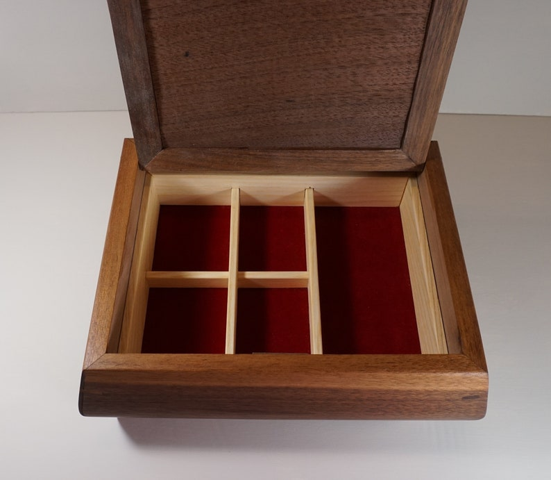 Wooden Jewelry Box with dividers Black Walnut Jewelry Box with Walnut Burl Lid and Red Velvet Lining