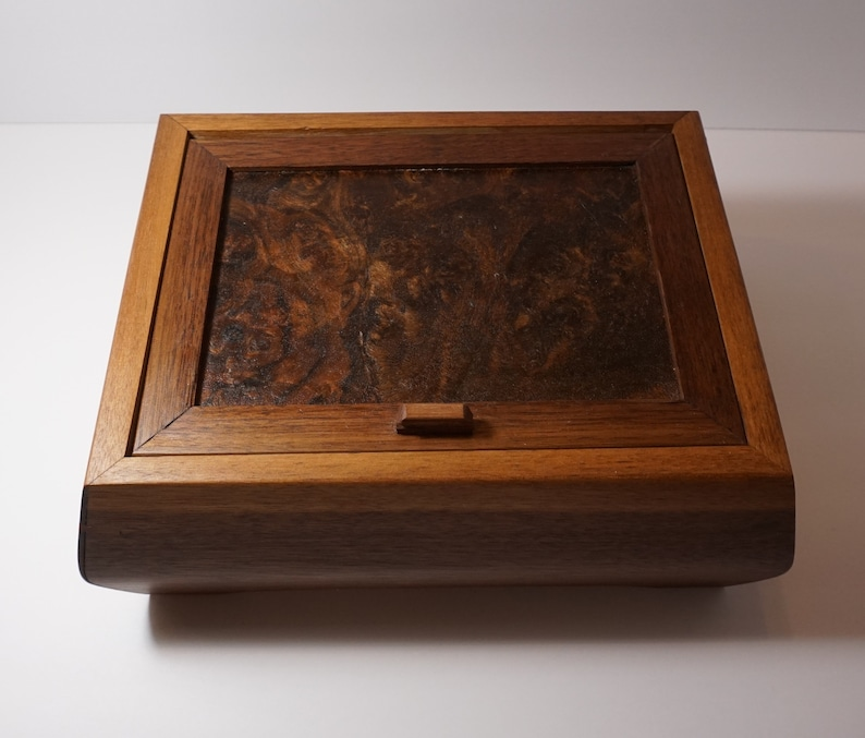 Black Walnut Jewelry Box with Walnut Burl Lid and Red Velvet Lining Wooden Jewelry Box with dividers
