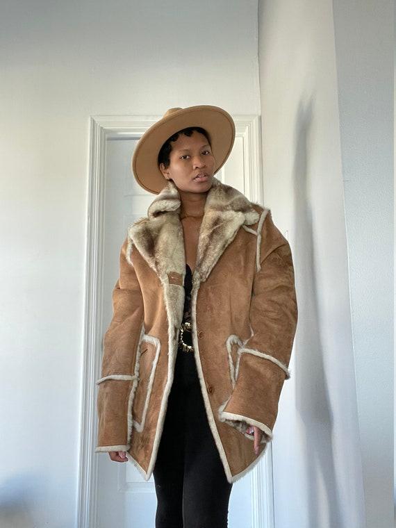 Shearling reversible faux fur coat