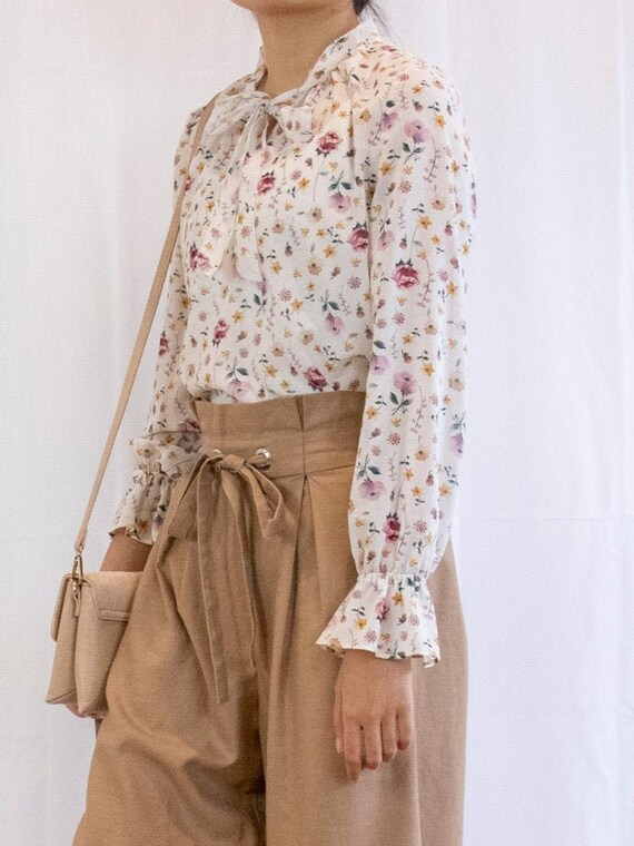 Vintage Floral Chiffon Blouse