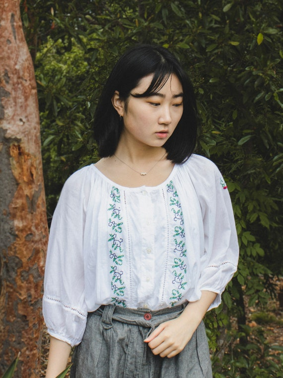 Vintage Puffed Sleeve Forest Blouse