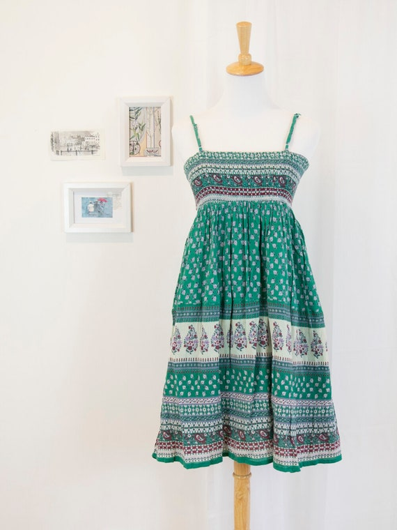 Vintage Green Paisely Shirred Dress
