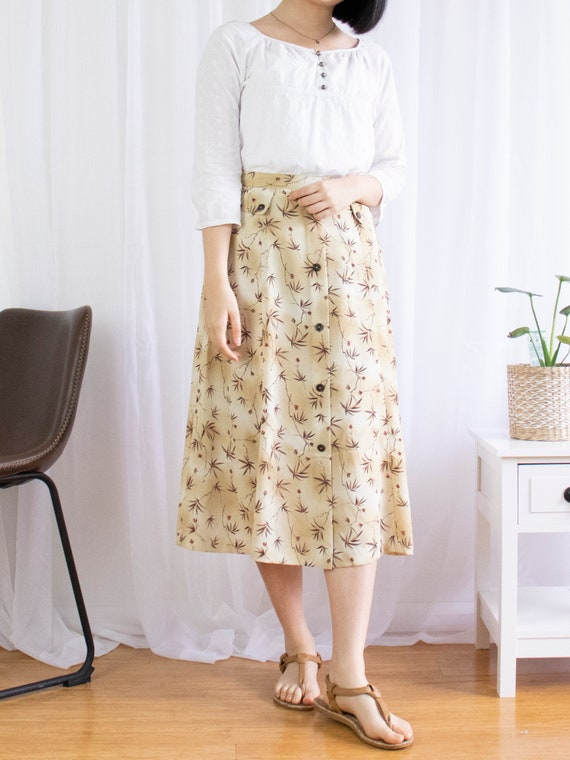 Vintage Brown Button Front Midi Skirt