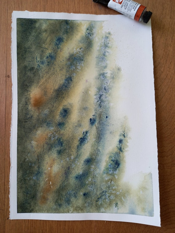 Places we go when we dream Watercolor painting 11x 7.5 light blues Loose watercolor painting style. In greens yellows