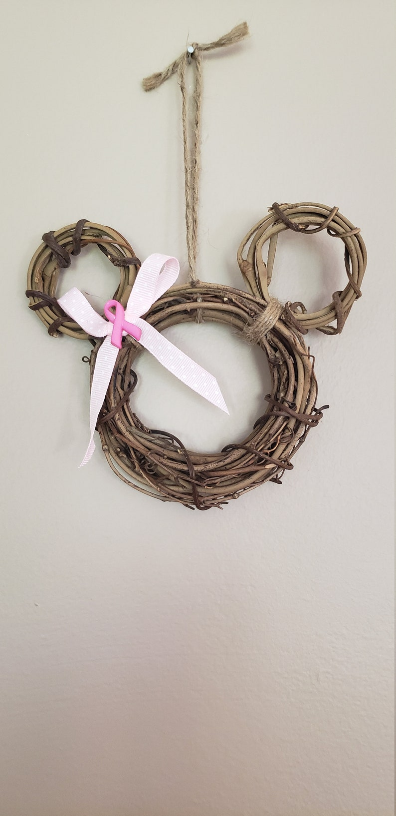 Breast Cancer AwarenessPink RibbonMinnie Mouse Wreath OrnamentCustomize Your Own