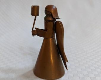 VINTAGE Copper Angel Figurine Candle Holder ANTIQUE Handmade