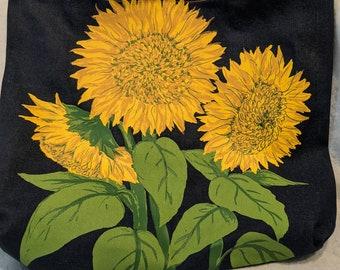Hand Painted Sunflower Denim Tote Bag