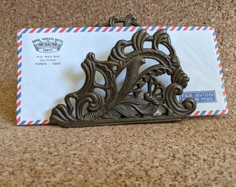 Ornate Brass Letter Holder VINTAGE Elegant Napkin Holder Patinaed