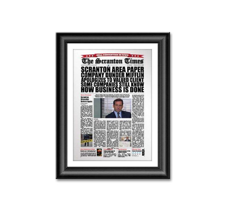 The Office Scranton Times Newspaper Headline Poster Dunder image 0