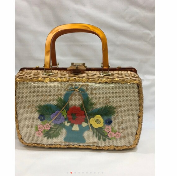 Vintage Wicker embroidery elbow bag