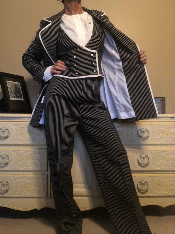 Lilli Ann Knit Pin Stripe Pant Suit Disco Vintage