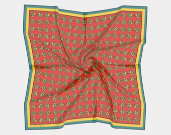 women men pocket square scarf 25cm  10 red mint green floral silk pocket square Vintage Square scarf