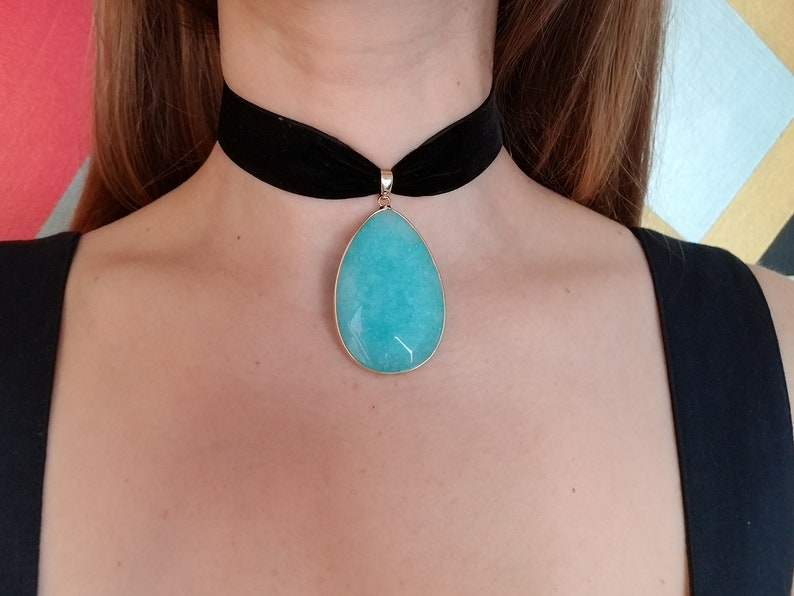 Turquoise pendant chartreuse Velvet Choker Necklace Bridesmaid gifts gothic choker,Mother day gift vintage green plus size choker