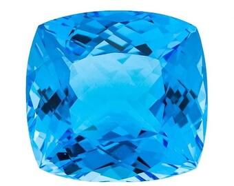 Swiss Blue Topaz 30.33 CT 6X6 MM Cushion.