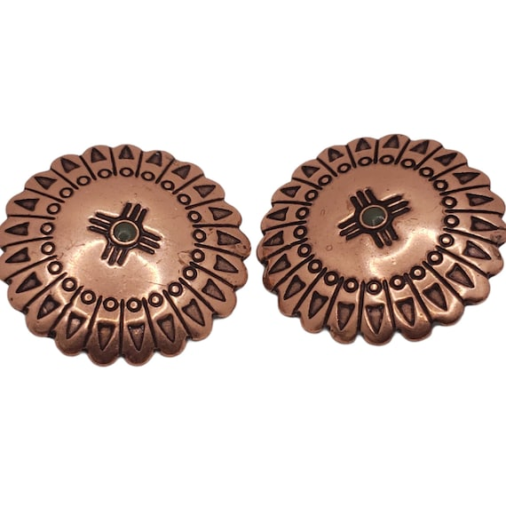 Vintage Copper Concho and Turquoise Earrings
