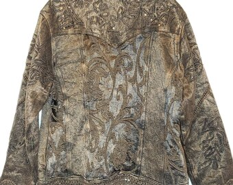 Women's Flashback Crochet Scalloped Edge Beaded Jacket Vintage XL