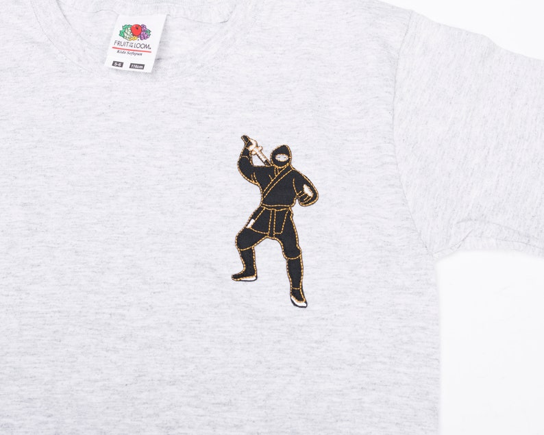 Great Gift for Boy Cotton Shirt for Martial Arts Birthday Gray Tee Perfect Gift for Ninja Fans Cotton Boys T-shirt with Ninja Embroidery