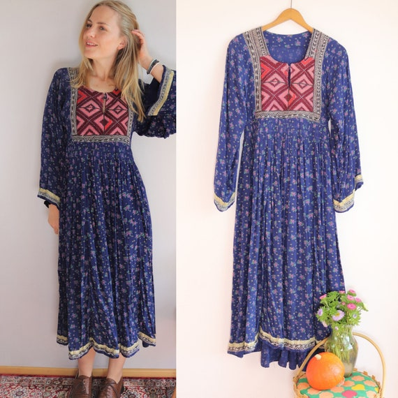 Rare 70s Afghan Folklore Dress Hand Embroidered