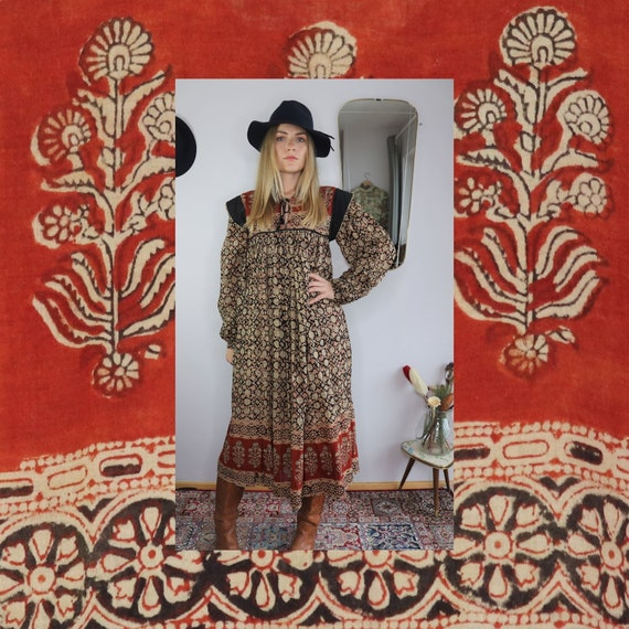 Rare 70s Indian Cotton Gauze Dress Blockprint - De