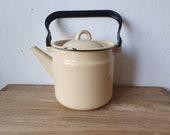 Vintage soviet light yellow beige enamel kettle
