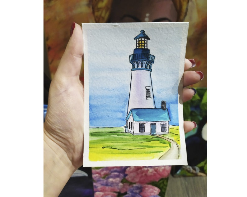 Lighthouse Painting Original Painting Original Aceo Watercolor Artwork Landscape Painting Samll Painting Sea Artwork 5x3.5 By Sangosquad