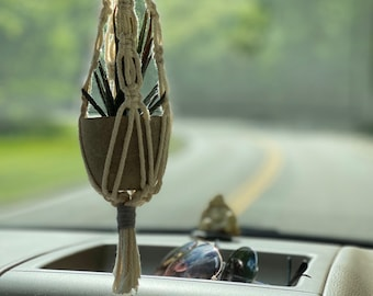 Macrame mini plant holder for car rearview mirror faux potted plant included many colors