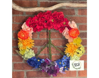 Pride Peace Sign Wreath Rainbow Colorful and Bright!