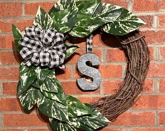 Farmhouse Minimalist Boho Wreath Variegated Pothos Leaves and Grapevine MCM Buffalo Plaid, Add Letter of Choice in Variety of Finishes