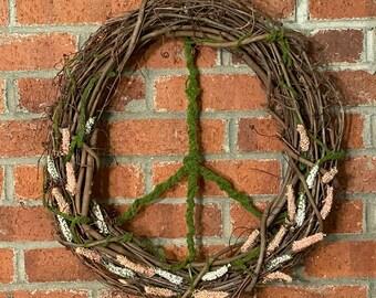 Peace Sign Wreath Moss and Grapevine Peach and White Hippie Boho Garden Door Decor