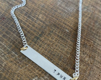 Hand stamped personalised unique pendant TPWK treat people with kindness silver chain necklace Harry Styles birthday Christmas keepsake gift