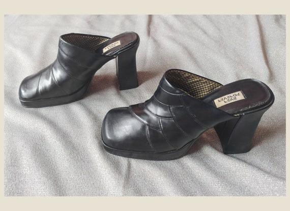 90's Vintage Heel Square Toe Shoes, Women's Square
