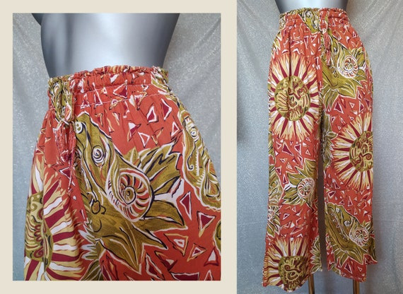Vintage Ethnic Orange Culottes, 90s Abstract Prin… - image 2