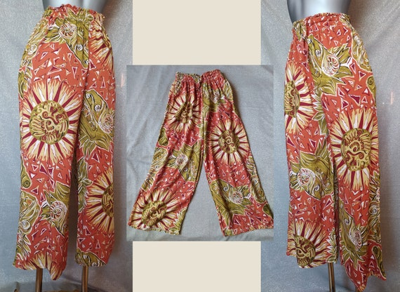 Vintage Ethnic Orange Culottes, 90s Abstract Prin… - image 1