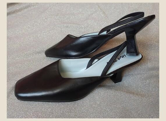 90's Vintage Heel Square Toe Shoes, Black Thin Hee