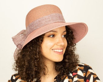 Holiday Hat Mothers Day Gift Pink Romantic Vintage Style Straw Hat Sun Hat Wide Brim Hat Women Summer Hat Boho Hat Beach Hat