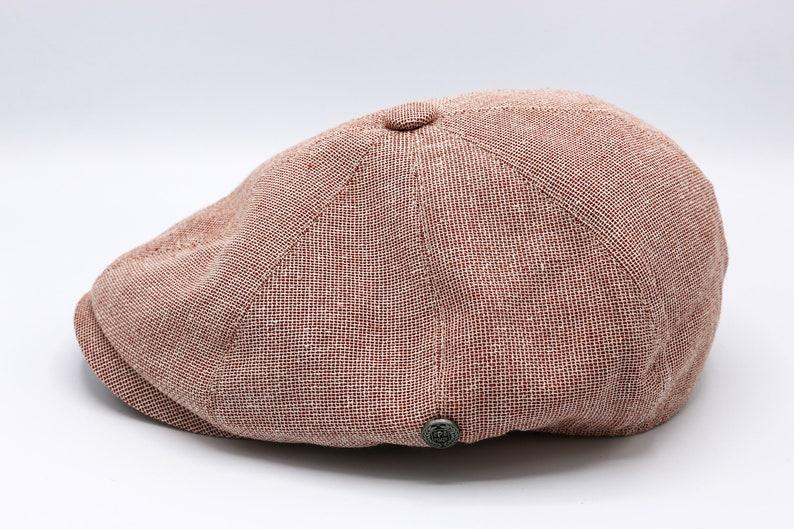 Brick Red Summer Linen 8 Panels Cap Peaky Blinders Hat Ivy League Hat Gatsby Hat Baker Boy Summer Hat,Irish flat cap