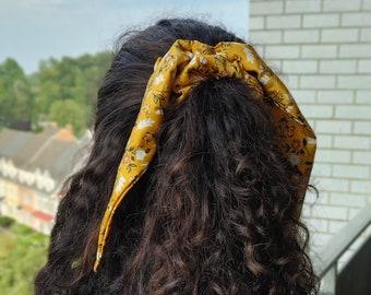 Yellow Flowers - Satin Hair Scrunchie, Satin Hair Bow, Satin Hair Tie Accessory
