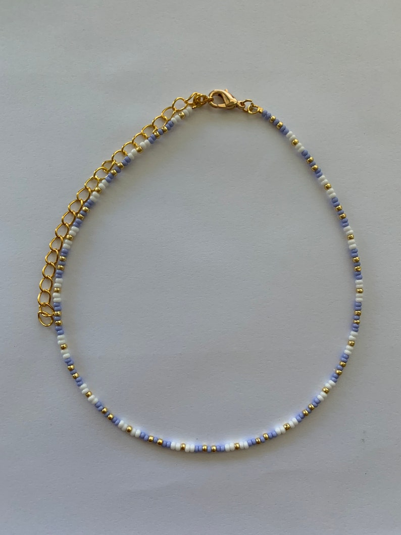 Lavender White and Gold Beaded Choker Necklace