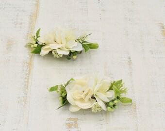 "Pair Small 2"" Girls White Hair Bow Clips Christening Flower Girls Pearl Bead"