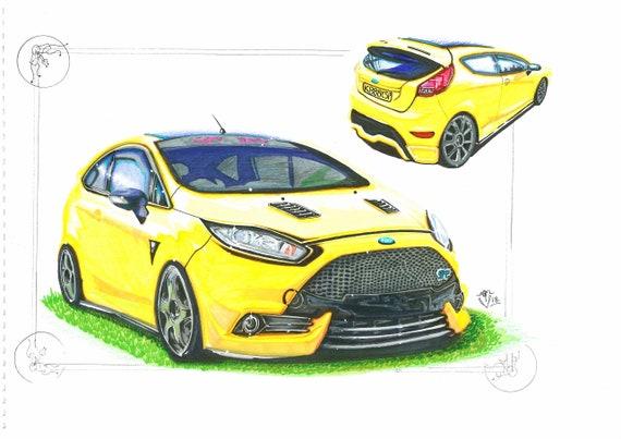 Mk6 Ford Fiesta ST Caricature Car Art Print