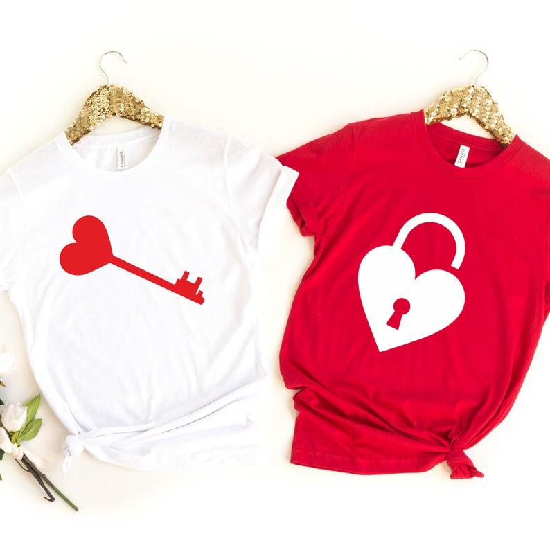 Wedding Gift Key and Lock Tees Couple Valentines Gift Love Shirt Valentine/'s Day Gift Heart Key ad Lock Shirt,Matching Couple Shirts